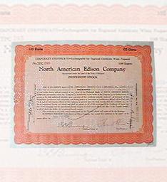 1925年美国爱迪生公司股票原件(古董)