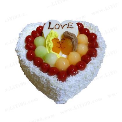 生日欧式水果巧克力蛋糕一个+生日餐具一套+生日蜡烛