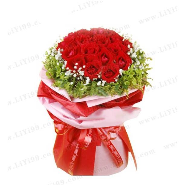 热情真爱红玫瑰花束包装一束