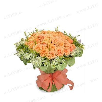 无悔的爱香槟玫瑰包装花束一束