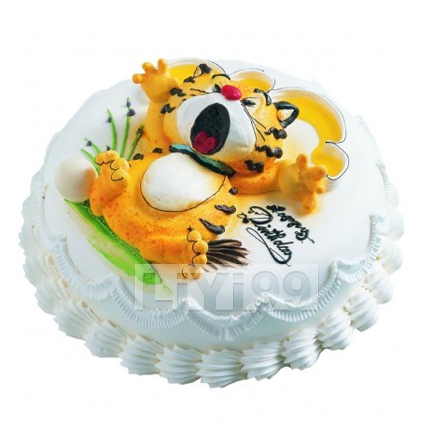 8寸圆形奶油蛋糕一个,卡通小老虎图案