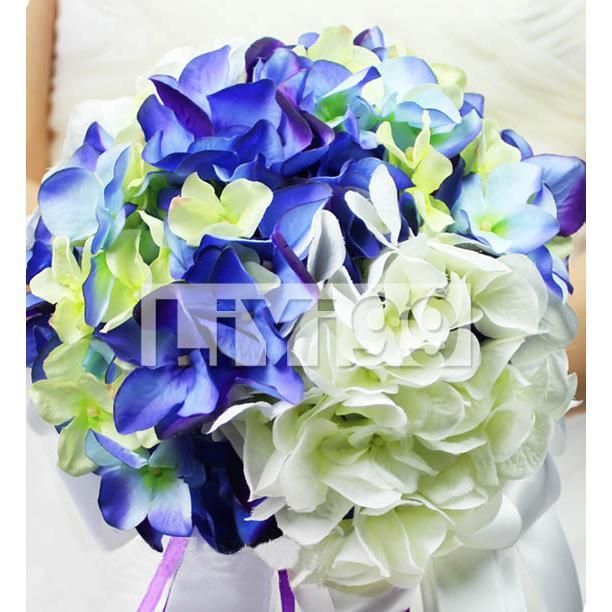 蓝白绿三色绣球手 捧花 一束