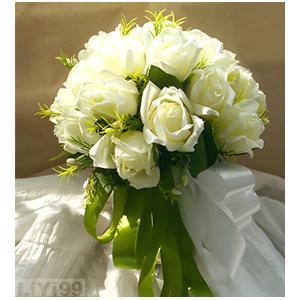 19朵精选白玫瑰,白绿色带包扎婚礼手捧花一束